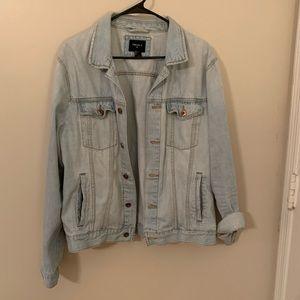 Over-sized light wash denim jacket